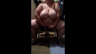 Bouncy big pierced tits bbw milf rides huge dildo on sex stool and has loud moaning squirting orgasm