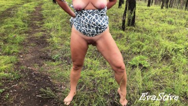 Milf pisses standing in the park