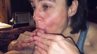 Mature cougar wife love's making young cock melt in her mouth
