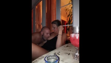 Romantic terrace kissing turns to SLOPPY GAGGING BLOWJOB - cut version