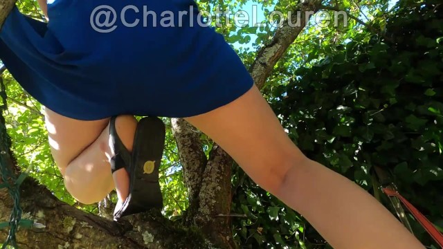 In naked tree Dress caught in tree girl exposed enf