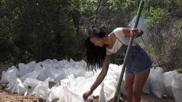 Get back to work! Viva Athena digging and shovelling dirt at construction site