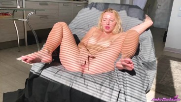 Sexy Blonde Sensual Fingering Wet Pussy after Waking Up
