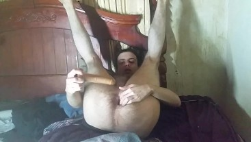 Aggresive dildo play extreme amateur gaping with cum creampie ending
