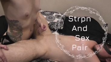 Strap-on fuck in a missionary and a kiss with cum