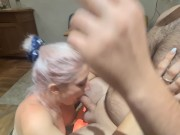 She loves smoking weed and sucking my big dick, she gets a huge facial