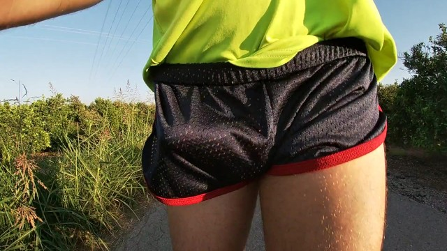 Gay sports water Tight shiny sport shorts bulging routine freeballing in a public place