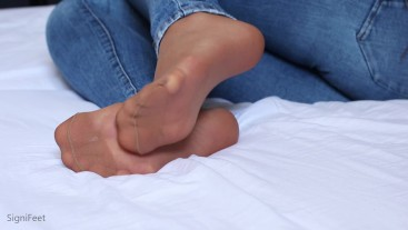 Reinforced Nylon Feet And Soles On Bed