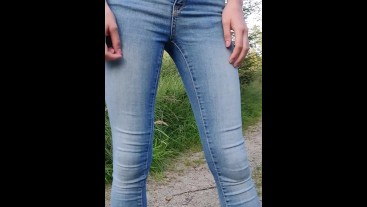 Wetting jeans outside