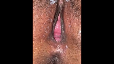 Closeup of a Fat Pussy Creampie Aftermath