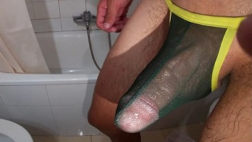Jerking off my big cock after showering in a sexy mesh thong