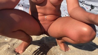 Naked wife pees in public on Nude beach - rate my wet naughty pussy! Pee close up