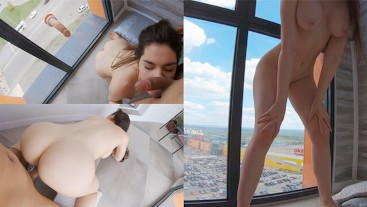 Real SCREAMING ORGASMS in full view. Wild fuck on the balcony