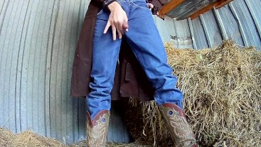 Boot View of Cowboy Shooting Huge Load in Shed - Hung Cumshot Jeans Trench Coat