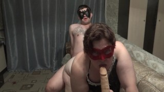Naughty russian bbw first threesome with her man and dildo