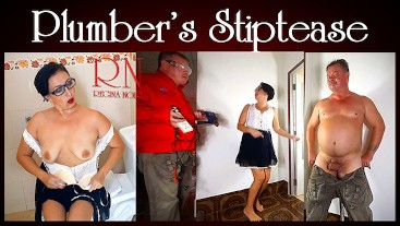 Funny!!! Plumbing striptease. The housewife called a plumber and had an orgasm.