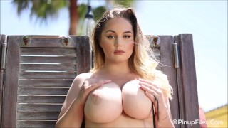 Sultry allnatural 34J Holly Garner teases you with her body