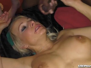 Hot British sluts get gangbang fucked and jizzed on