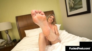 Blonde Kit Mercer Uses Feet To Milk A Lucky Hard Cock Dry!