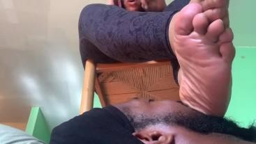 POV- Bougie Goddess Enjoys Footstool-foot gagging/heel in mouth