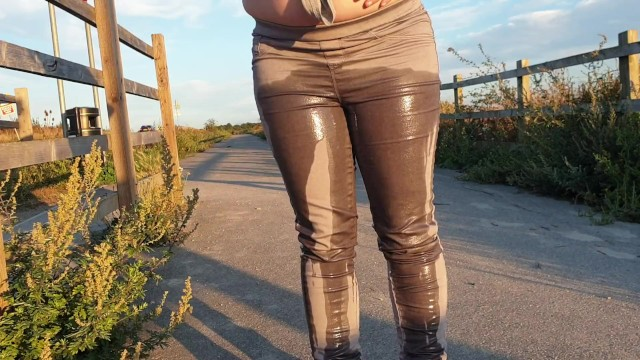 Milfs in tight jeans Alice - totally pissing my tight jeans in public as cars drive by