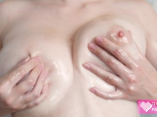 Big Beautiful Natural Tits Oiled Up and Squeezed - Close Up 4K