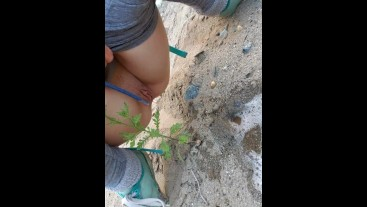 Making A Piss Puddle In the Sand