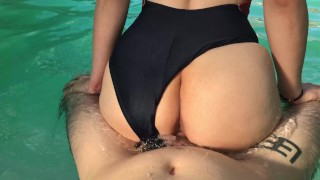 Screen Capture of Video Titled: Horny girl begs for dick in the pool