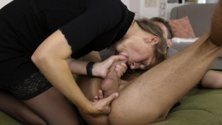 She surprises him with an intense rim and blow job