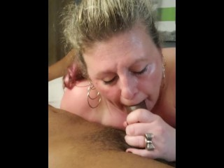Mature White BBW sucks BBC while her man is out of town
