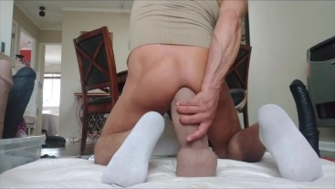Double penetration with Mr. Hankey's Cody Cachet XXl and a double headed large dildo