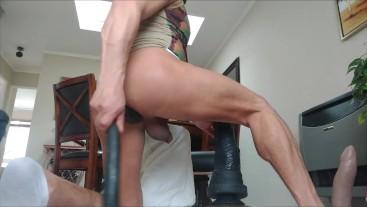 Double penetration with Mr. Hankey's Centaur XXXL and a double headed large dildo