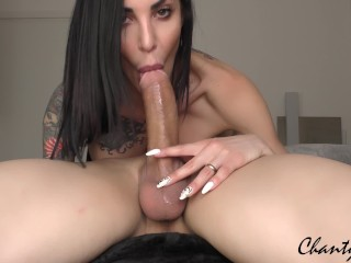 69 DEEPTHROAT! BRUNETTE MILF with big tits gets a big load of CUM DOWN HER THROAT!