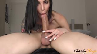 69 DEEPTHROAT! BRUNETTE MILF with big tits gets a big load of CUM DOWN HER THROAT!