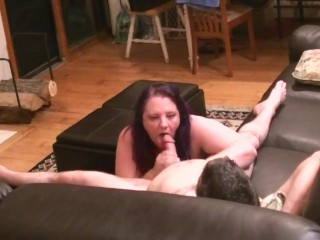 Sucking and jerking off his big cock for a facial cumshot