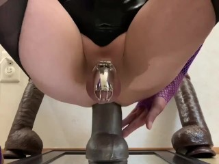 Sissy CD in Chastity, Deep Fuck,Huge Dildos, Epic Handsfree Sissygasms, Cleanup.