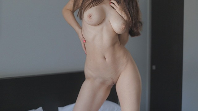 Large adult bibs Young hottie with a beautiful body wearing only sneakers has sex on a large bed. guy cums twice