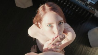 HOT POV BLOWJOB (Oral creampie) – MollyRedWolf