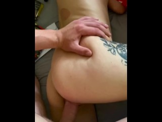 Hot blonde girlfriend taking hard cock