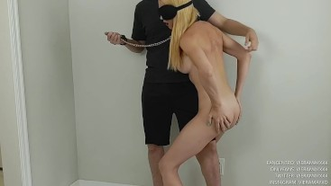 Submissive Slut Humps Her Master's Thigh With A Collar On