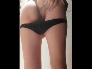 Sexy girl in black thongs mastrubate her dirty vagina and shows shaved pussy