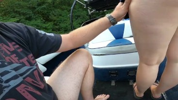 Taking dick from behind on a boat in public (part 1)