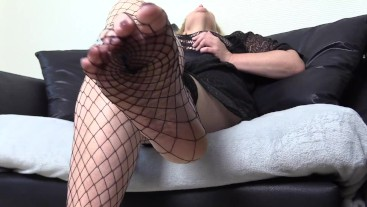 Horny Mature Close-up Fishnet Foot Fetish