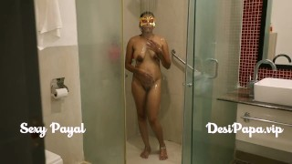 desi south indian girl young bhabhi Payal in bathroom taking shower and masturbation