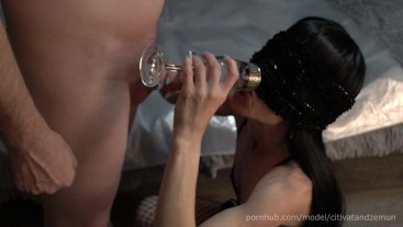 My obedient whore loves to drink pis from a glass and cum.