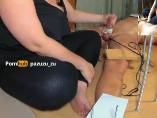 Amateur. A little footjob. I Tied his Balls & Cock and Ruined his Orgasm Twice. Post Orgasm Torture