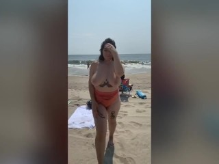 GIRL GOES NUDE AT THE BEACH!!!