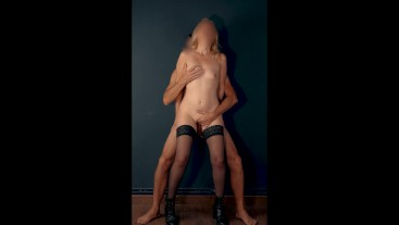 Sensual fingering and fucking standing with stockings