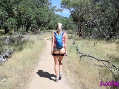 Blond babe flashes while hiking then sw...