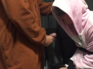 Bunny onesie gagging on cock tied up on couch